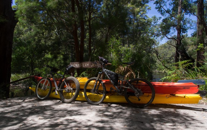 Bikes meet boats at Monastery Jetty - so named for it's impression on an official party sent to assess the area for timber/cattle use in 1910.  Such that the Walpole-Nornalup National Park was the outcome.