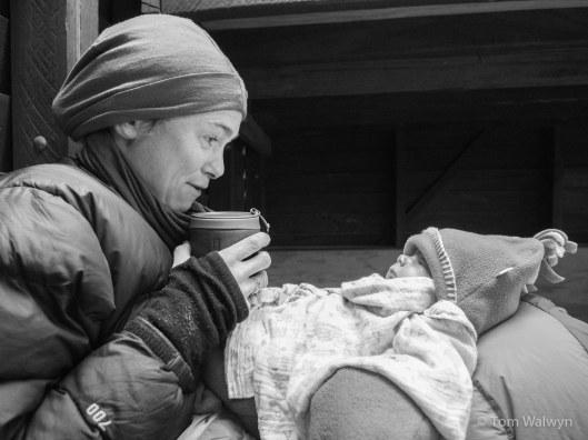 Bryn awake and bundled - coffee-warmed