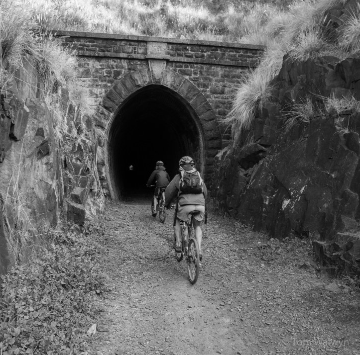 Near the end of the loop we get to the tunnel - just short enough that you can see the other end.  Long enough and dark enough that there's some spice to riding it.  There's even a bolt-hole halfway along that provides kids with no end of ambush possibilities...