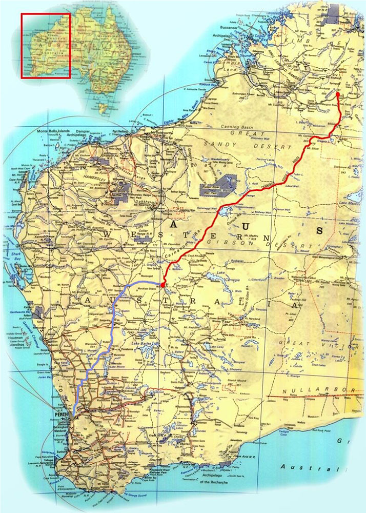 the red line - starting from Perth (at the coast on the end of the grey/blue line) to one end or the other on 19th July