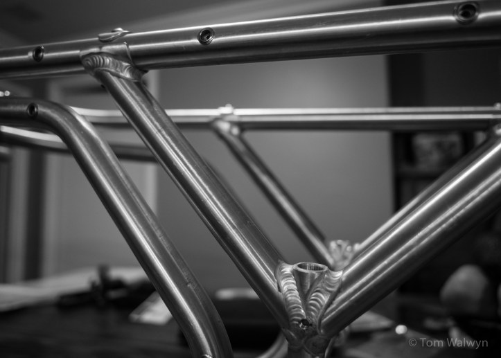 """The trailer arrives from Twenty2 Cycles - this is a prototype, but it will accommodate any wheel size from 26"""" to 29+ with any hub spacing (symmetrical or offset)."""
