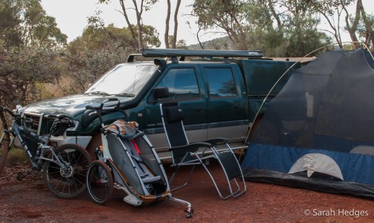 More luxuries of car camping: my bike, Bryn's Chariot, one ridiculously plush camping chair and yep, a choice of tents.  This one is my preference most nights: a giant mozzie dome that allows us to watch the stars but keeps the bities at bay