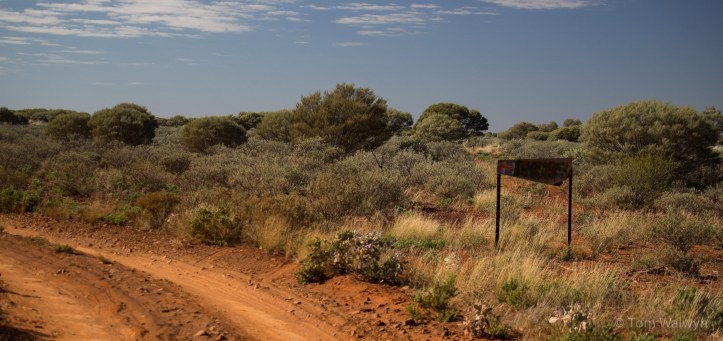 Navigation aids - in the southern pastoral areas, these signs stop you heading down private station tracks.