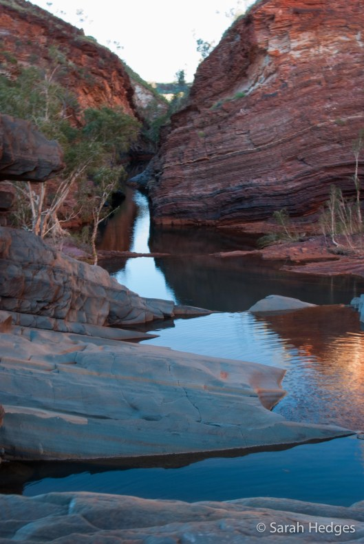 The beautiful Hamersley Gorge, enhanced by evening light and the lack of other tourists.  A magical hour