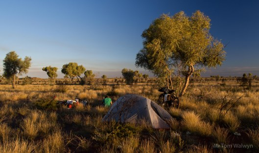 A 'time to stop' camp-site.  No worry of meeting others, as what traffic there was stopped long before we did.