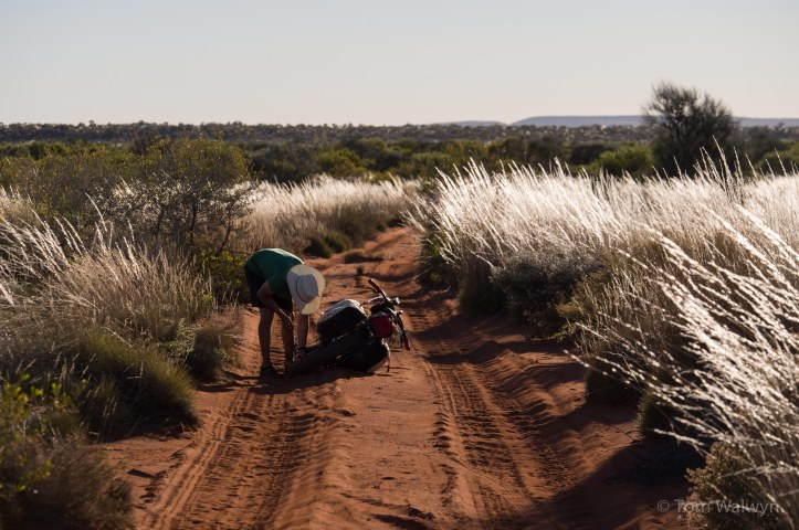 Our only significant 'mechanicals' were punctures - mostly during the early and late phases of the route.  Big, fat tyres so good for soft sand require much time to inflate with the hand pumps we carry.