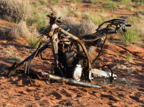 As well as the mostly infrequent smattering of burnt-out 4WDs, this motorbike remains a scavenged monument to the self-sufficiency asked of everyone on the CSR