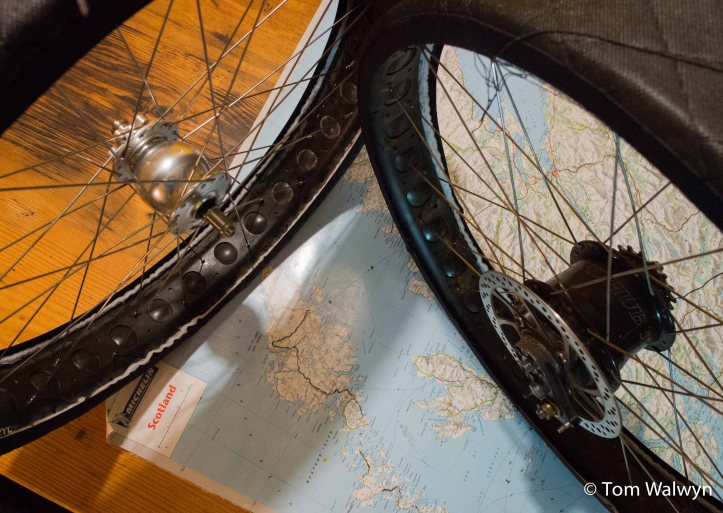 There's been a laminated map of Scotland sitting on our kitchen table for weeks,  with a scrawled route.  Some last minute wheel building and attempts to minimise airline-induced frame damage crowd my final days at home.
