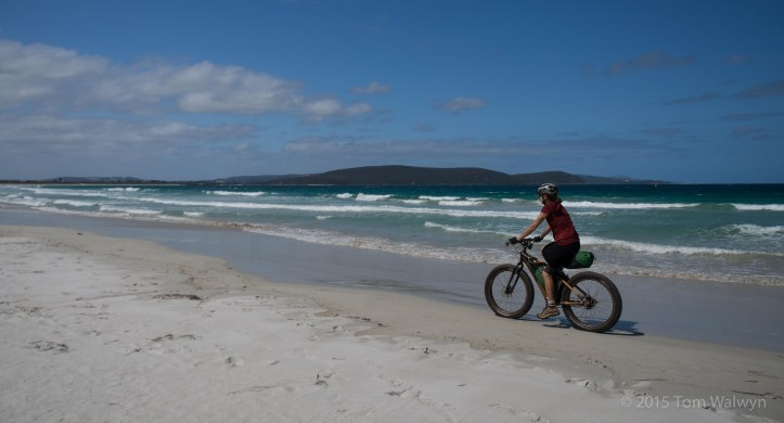 An afternoon of sunshine allows some beach riding - an somewhat justifies my insistence on bringing fat-bikes.
