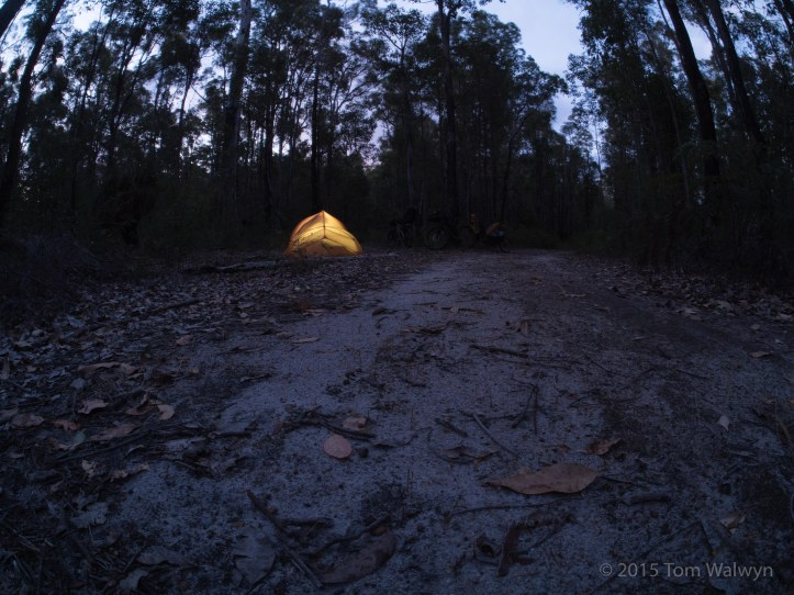 The route has many, many opportunities for trail-side camping. Given the ability to get away from the mosquitos and march flys along with weather protection, carrying a light-weight tent makes a lot of sense. Especially if staying in (even small) towns isn't your thing